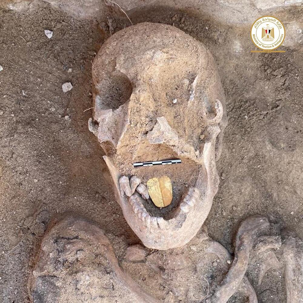 Archaeologists have unearthed mummies with golden tongues