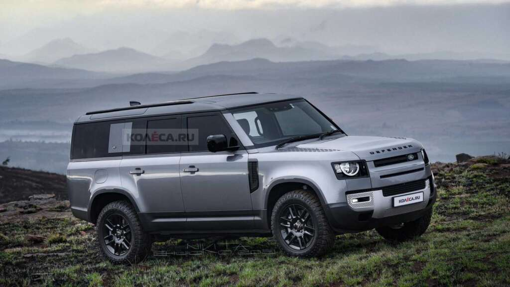 Graphic visualization of Land Rover Defender 130;  A very serious competitor to Land Cruiser